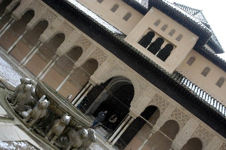 Courtyard of the lions i Alhambra of Granada