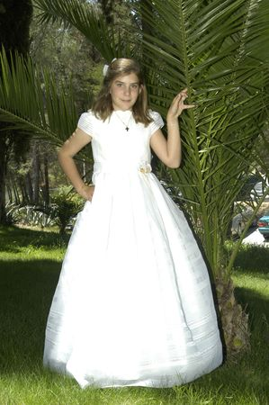Girl in her First Communion  photo