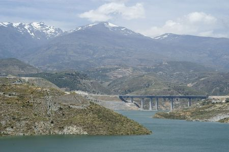 motril: View of the dam and the dam of Rules, the viaduct of the highway to the coast of Motril to fund