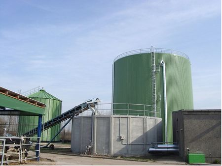 Planta de biogás o los biocarburantes