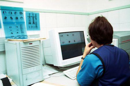 Departamento de medicina nuclear en un hospital de Granada  Foto de archivo
