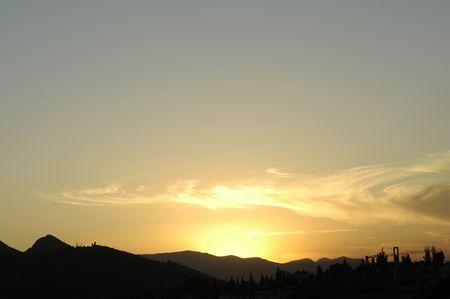 deserved: Clouds in the sky over the Sierra Elvira Granada Stock Photo