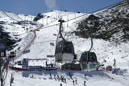Gondolas in the ski resort of Sierra Nevada photo