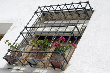 grates: Typical balcony in the town of Baza, Granada