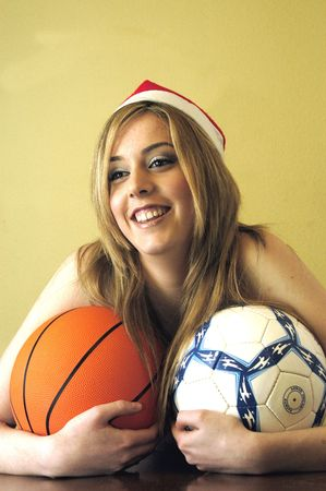 Pretty young woman with balls photo