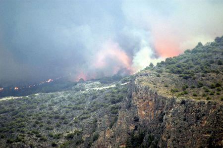 Extinción de un incendio forestal en España