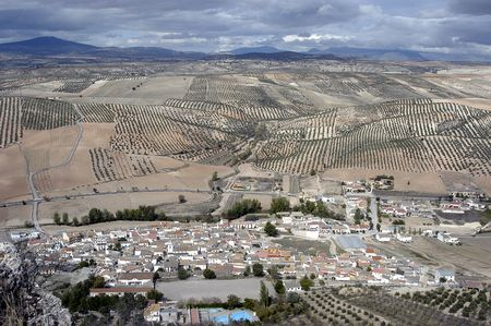 Aerial view of the town of Pi�ar and fields in the province of Granada photo