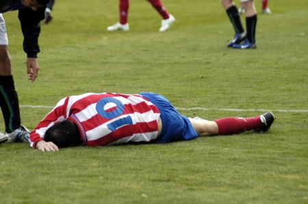 Futbolista herido Foto de archivo