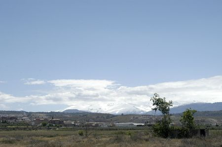 sierra snow: Snowstorm in Granada, Sierra Nevada