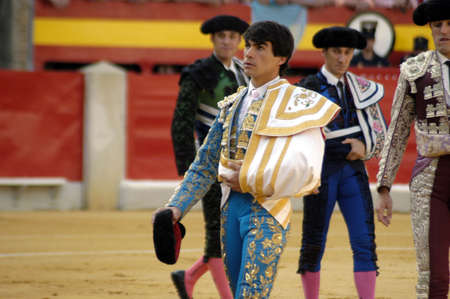 bull rings: The bullfighter L�pez Chaves in the bullfight held in Granada on 3 June 2007, at Feria de Corpus Editorial