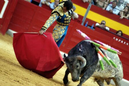 matadors: The bullfighter Salvador Cortes in the bullfight held in Granada on 7 June 2007, at Feria de Corpus