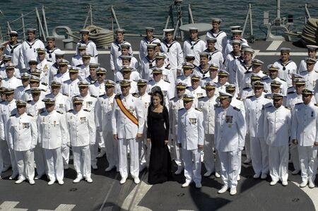The Princes of Spain, Felipe de Borbon y Doña leticia, in delivering the flag Spanish frigate Alvaro de Bazan, in the port of Motril in 2006