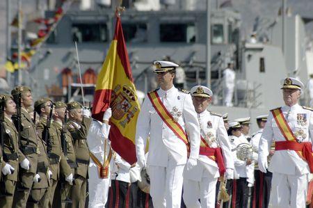 bazan: The Princes of Spain, Felipe de Borbon y Doña leticia, in delivering the flag Spanish frigate Alvaro de Bazan, in the port of Motril in 2006 Editorial