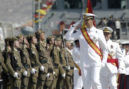The Princes of Spain, Felipe de Borbon y Do�a leticia, in delivering the flag Spanish frigate Alvaro de Bazan, in the port of Motril in 2006
