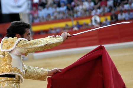matadors: the bullfighter david fandila, el fandi, in the bullfight held in granada on 7 june 2007, at feria de corpus Editorial