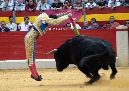 The bullfighter David Fandila, El Fandi, in the bullfight held in Granada on 7 June 2007, at Feria de Corpus