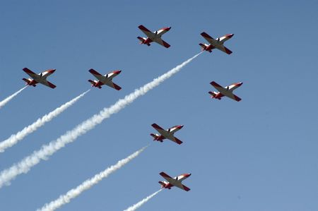 aerobatics eagle patrol, the armilla air base in the province of granada Stock Photo