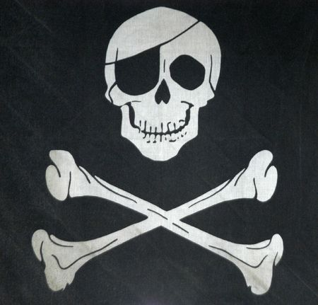 pirate flag: symbol of death, warm with skull
