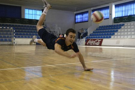 declared: 20071201 - Granada-Spain-Guille Hernan, Spanish football player volleyball, which has been declared European champion Editorial