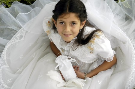 Girl with first communion dress Stock Photo - 7282914