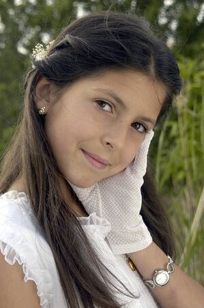 girl with first communion dress Stock Photo - 9684643