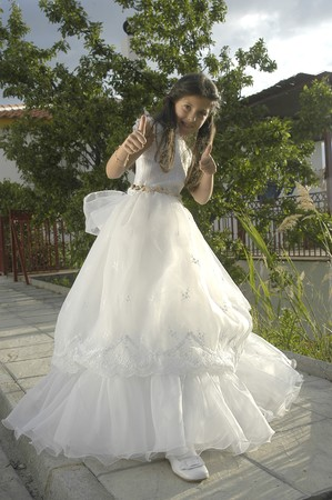 Girl with first communion dress Stock Photo - 7283294