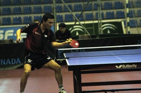 20080606 - granada - spain - table tennis match between teams of caja granada and san sebastian de los reyes, the university hall of fuente nueva, in the city of granada