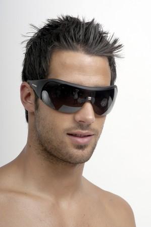 beach hunk: spanish male model Stock Photo