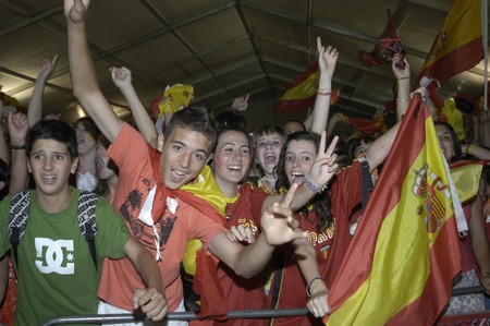 commotion: Party World Cup in which Spain were crowned world champions in the marquee of Granada, next to the Palacio de Congresos de Granada 07112010 Celebrating the World Cup in South Africa