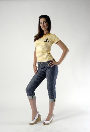 Young woman in jeans and T-shirt Stock Photo - 7501759