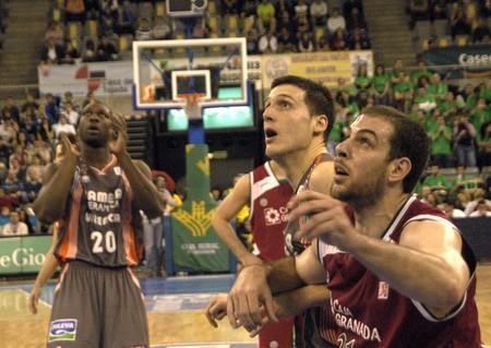 cb: 20090322- granada-spain-party acb basketball league between cb granada and cai zaragoza Editorial