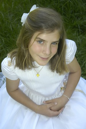 10 11 years: girl on the day of his first communion Stock Photo