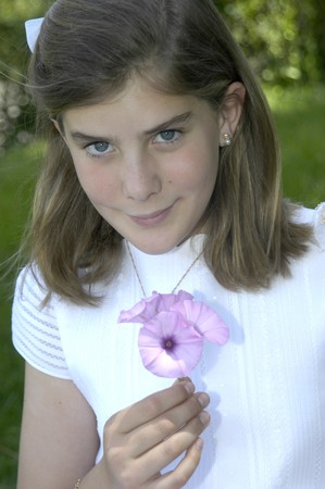 10 years girls: girl on the day of his first communion Stock Photo