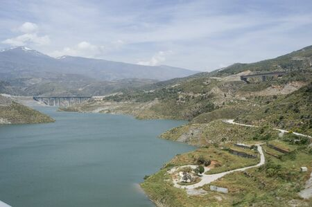 motril: View of the dam and the dam of Rules, the viaduct to the coast of Motril in the background