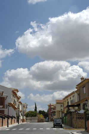 fuga: private with blue sky and white clouds Stock Photo