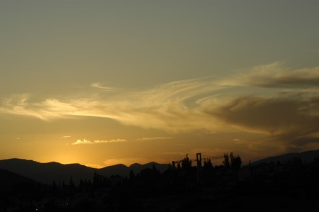 foreign land: Clouds in the sky over the Sierra Elvira Granada Stock Photo