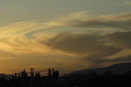 arroyo: Clouds in the sky over the Sierra Elvira Granada Stock Photo