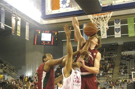 2010/10/24- Granada-Spain-party basketball ACB CB Granada between Granada and the work of Vitoria Box Stock Photo - 8151532