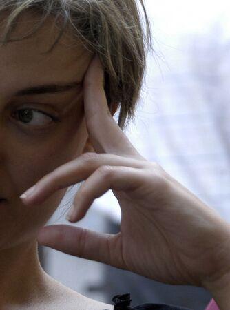 Female hand face photo
