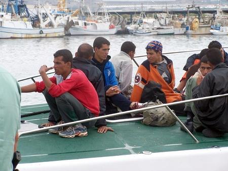 illegal: 10102009 - Motril-Granada-Spain-Patera of illegal immigrants at the port of Motril