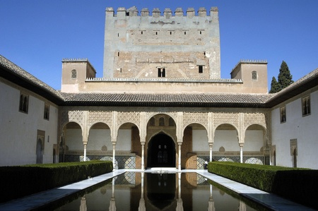 hist: the court of the myrtles in the alhambra in granada Editorial