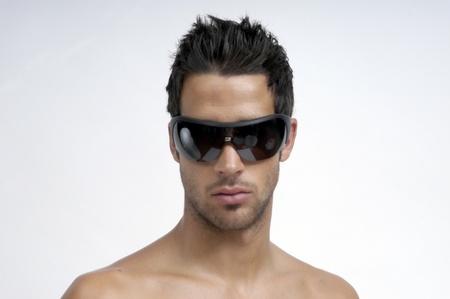 man in underwear: model with sunglasses
