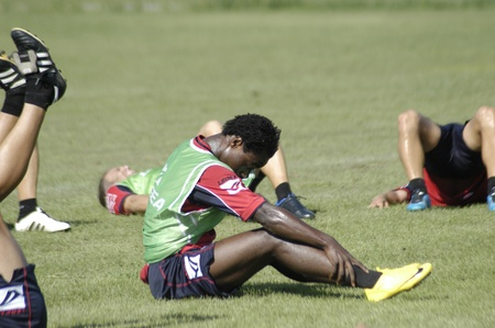 stretching and warming of granada cf footballers 05/12/2010 Stock Photo - 9690766
