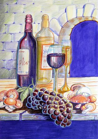 Still life of wine, grapes and mushrooms Stock Photo - 8714936