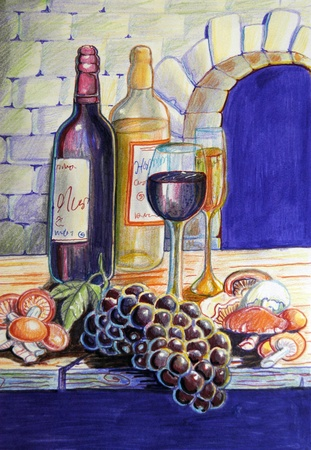 mycology: Still life of wine, grapes and mushrooms