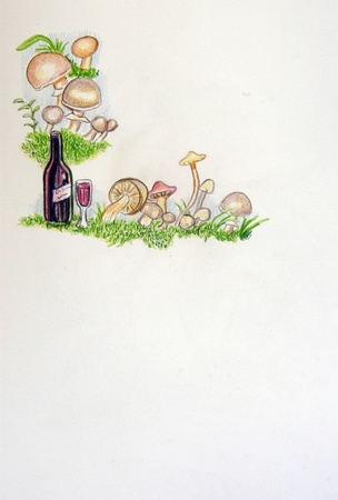 Still life of wine, grapes and mushrooms photo