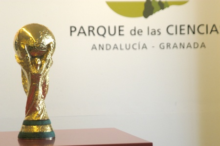 20110218 - granada - spain - presentation of the trophy or the world cup football, won by the spanish team adult football in the science park of granada