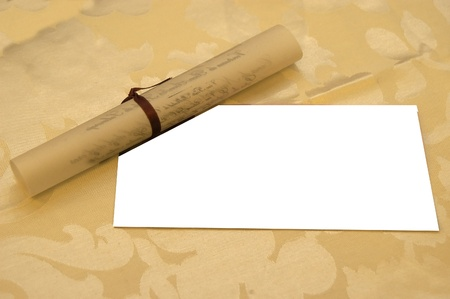 Parchment, white, invitation,  photo