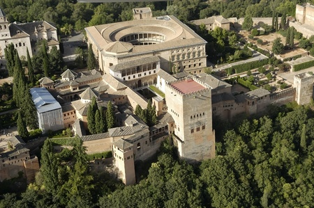 aerial view of the alhambra and the palace of charles v in granada