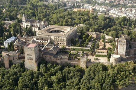 alhambra: aerial view of the alhambra and the palace of charles v in granada